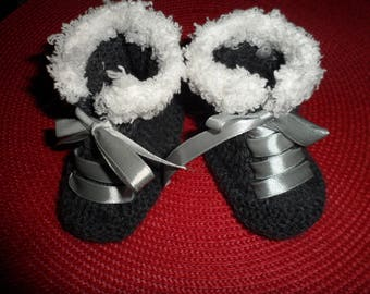 """Baby shoes, sneakers baby wool """"Gray"""" (0-3 months)"""