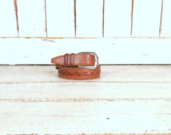 Vintage distressed brown braided thick leather belt/woven leather belt/32