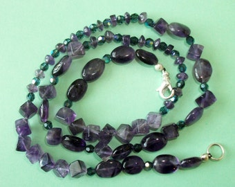Gemstone Jewelry Necklace - Amethyst and Swarovski Crystal Gemstone Beaded Necklace