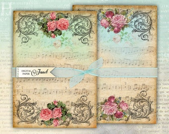 Partitura Paper - background - digital collage - set of 2 - Printable Download