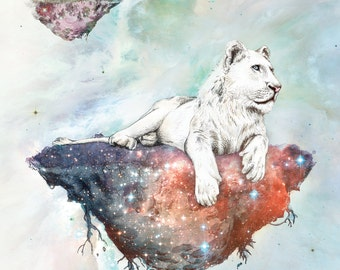The Galaxy Lioness | A5 print | Alykat Creative Stardust series | Space Lion