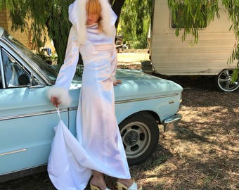 Rad Vintage 1970's Snow Bunny Wedding Gown FEATHERS Satin HOOD Small