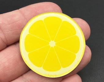 Lemon Kawaii Resin Flat Back, Food, Fruit, Summer, (R028)
