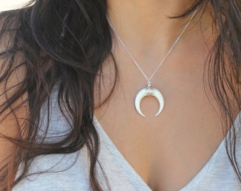Horn necklace, Boho Chic, Crescent moon, natural carved bone, 925 sterling silver layering necklace, beach,wear it long or short,double horn