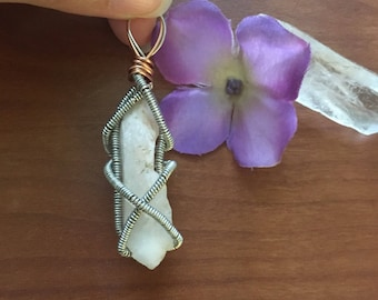 Quartz wire wrapped pendant