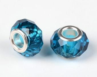 Beads European Blue 14 x 10 mm, hole 5 mm for Bracelets European 3 mm thick