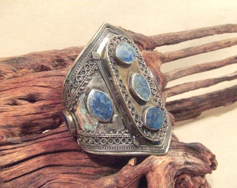 Large Tribal silver cuff bracelet -- old Kuchi jewelry -Lapis stones -- heavy patina (FREE SHIPPING SALE)