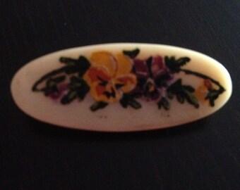 Victorian Brooch Handpainted Flowers
