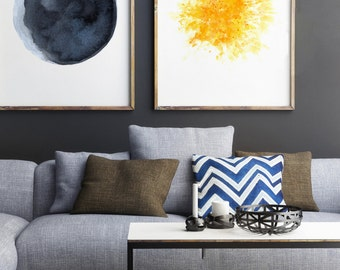 Moon ans Sun set 2 Watercolor Painting, Blue Yellow Living Room Decor, Abstract Minimalist Wall Decoration, Full Moon Gold Star Art Print