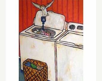 25% off Owl Doing the laundry Art Print