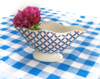 Antique French checked ceramic Sauce Boat, Gravy Dish, saucer pitcher, Blue  red and white arlequin pattern