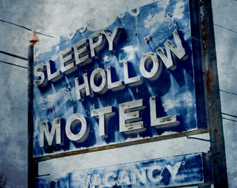 Retro Motel Sign Photograph, Sleepy Hollow Motel Sign, Blue Photography, Funky Vintage Motel Wall Art 8x8