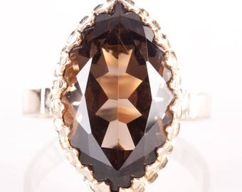 Vintage 1950's 14k Yellow Gold Marquise Cut Smokey Quartz Solitaire Ring 4.7ct