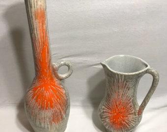 Lot 2 vintage ceramic Vases glazed pattern identical Vintage decor