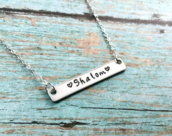 Hebrew Jewelry - Bar Necklace - Shalom - Sterling Silver - 14K Rose Gold Filled or Yellow Gold - Hand Stamped