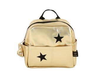Gold Kids backpack, girl backpack, Stars emboried , Toddler  backpack Gold,  girl backpack,  Children Backpack, Cool backpack