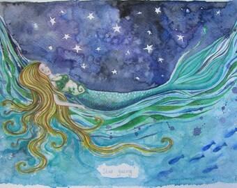 Stargazing Mermaid Original Painting