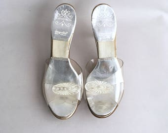 1950s clear Lucite custom made Springolator heels with Diamanté detail  size 4 UK  37