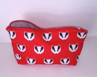 Red fox Make up bag, Mothers day Gift, toiletries bag, bag organiser, personal Items.  makeup brush holder, birthday gift bag. Gadgets,