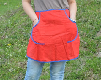 Vintage ladies apron - Woman waist apron - Cotton apron - Cooking apron - Pocket Apron - Retro apron - New Cooking Apron - Pockets Apron