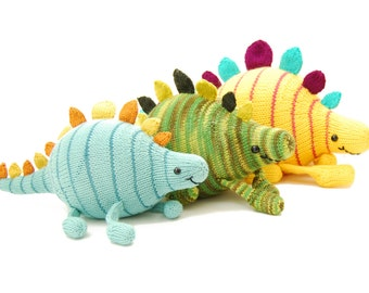 Sherman the Square Dancing Stegosaurus Knitting Pattern Pdf INSTANT DOWNLOAD
