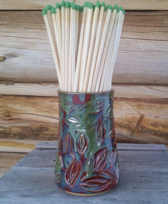 Pottery Fireplace Match Holder Leaves Long Match Holder