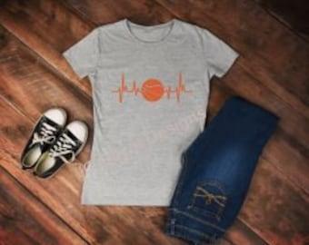 Basketball Heartbeat T-Shirt, Basketball T shirt, Basketball, Basketball T shirt, Mom T-Shirt, Heartbeat shirt, Mom Shirt, Gift for her