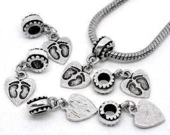 Footprint Heart Charm For European Bracelet Antique Silver - ec140