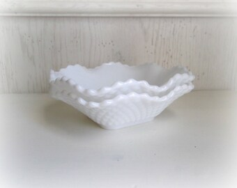 Milk Glass Bowls, Set of Two, Hobnail Milk Glass Candy Dishes, Wedding Decor