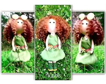 Forest fairy doll Green silk dress Portrait Tilda rag soft doll Waldorf cloth doll Custom art OOAK doll Personalized toy Best friend gift