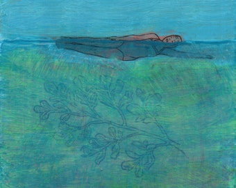 swimmer artwork -- Sidestroke, Avoid the Depths - fine art reproduction - art by Irene Stapleford - wantknot shop