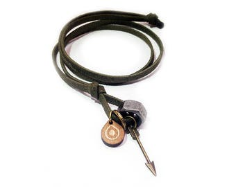 Suede leather necklace - 8703 - Mens necklace - Arrow necklace - Mens Jewelry - Adjustable