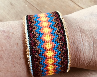 Handmade Cross Stitched Beaded Bracelet Buttoned Cuff