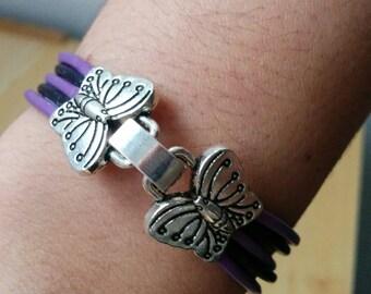 Butterfly bracelet, leather bracelet, pink bracelet, butterfly cuff, purple cuff, pink cuff, violet cuff, pink butterflies cuff