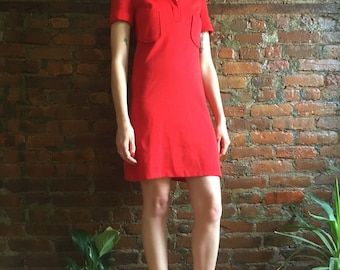 Vintage 1970s collared red dress