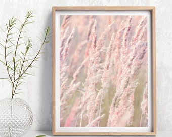 Reeds Wall Art, Reeds Art, Botanical Wall Art, Printable Photography, Pastel Pink and Green Nature Art, Botanical Art Photo digital download