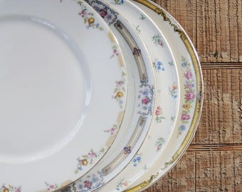 Mismatched Vintage Dinner Plates Set of 4 Plates for Wedding Replacement China