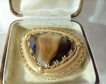 Dramatic Modernist Glass Banded Agate Brooch