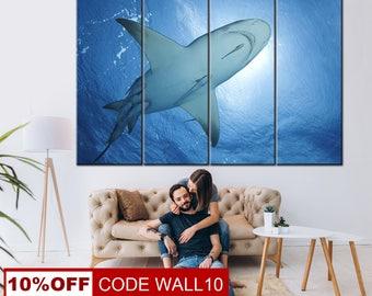 Shark wall art, Shark print, Shark canvas, Animal canvas, Sea canvas, Fish print, Animal wall art, Shark Canvas Print, Shark, Canvas Shark