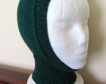 Hand Knit Balaclava, knit Hood, knit ski Hat, knit Ski hood, knit Bike hood, knit Helmet, Hand Knit. One Size.
