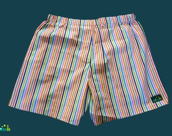 Boxer man in white and multicolored stripes