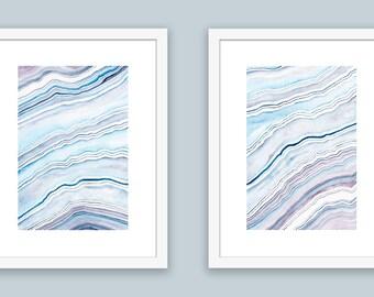 Beach Abstract Wall Art, Coastal Art Print Set, Blue Abstract Watercolor Agate Prints, Coastal Prints, Beach Art Prints Set Coastal Wall Art