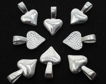 100 Piece Shiny Heart Shaped Glue On Pendant Bails Pad Silver Plate