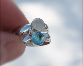 Birthstone Ring. Stone ring. Two stone Fairy Tale Ring. Mothers gift. Sterling Silver. Mother's Ring. Grandmothers.Grandma. Sisters. Friends