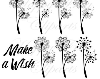 Make a Wish - Dandelions - Set 1 - HFC 019 - Dandelion, Instant download, Clipart, Vector, Graphic, Comercial Use