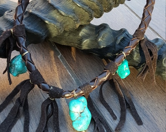 Necklace leather with turquoise