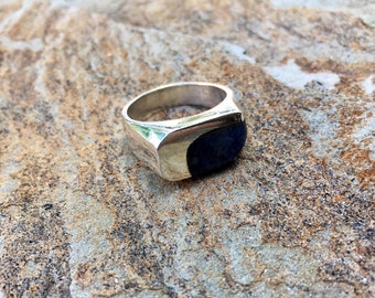 Vintage Silver Sodalite Ring - Dark Blue Stone Odd Shaped Rectangle/Square Geometric Mexico 925