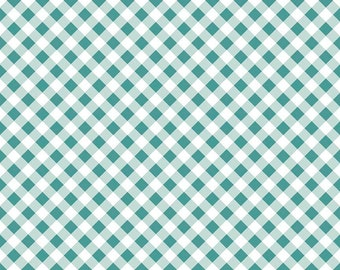 Gingham in Teal Cotton Fabric from the Wonderland 2 Collection by Melissa Mortenson for Riley Blake Fabrics