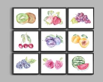 Fruit print, Watercolor fruit print, Fruit wall art, Fruit art, kitchen wall art, kitchen wall decor, kitchen wall decorations, kitchen art
