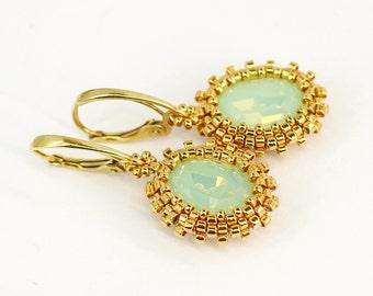 Drop earrings Gold earrings Swarovski jewelry Elegant earring Crystal jewelry Wedding gift for bride gift for girlfriend gift for women gift